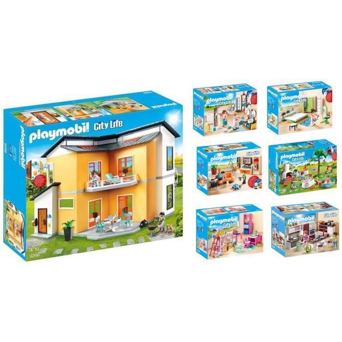 PLAYMOBIL - Pack Gamme Maison Moderne - La Maison Moderne et 6 Pièces