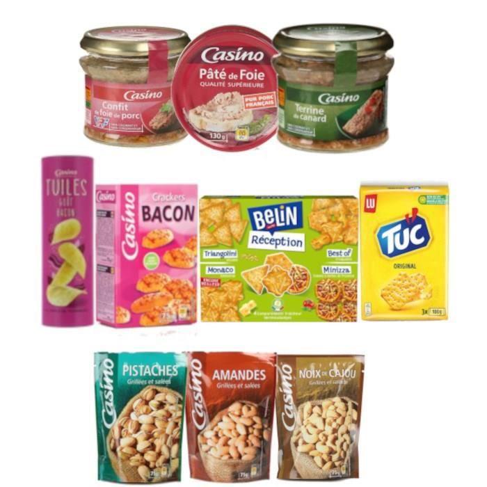 Assortiment de 10 produits pour l'apéritif