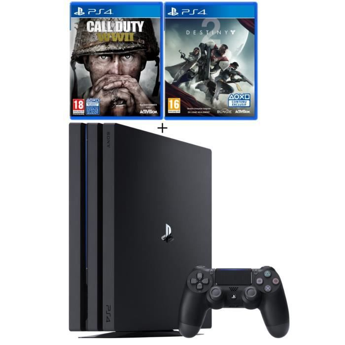 PS4 Pro Noire 1 To + Call of Duty World War II + Destiny 2 + Qui-es-tu ? (Jeu PlayLink à télécharger)