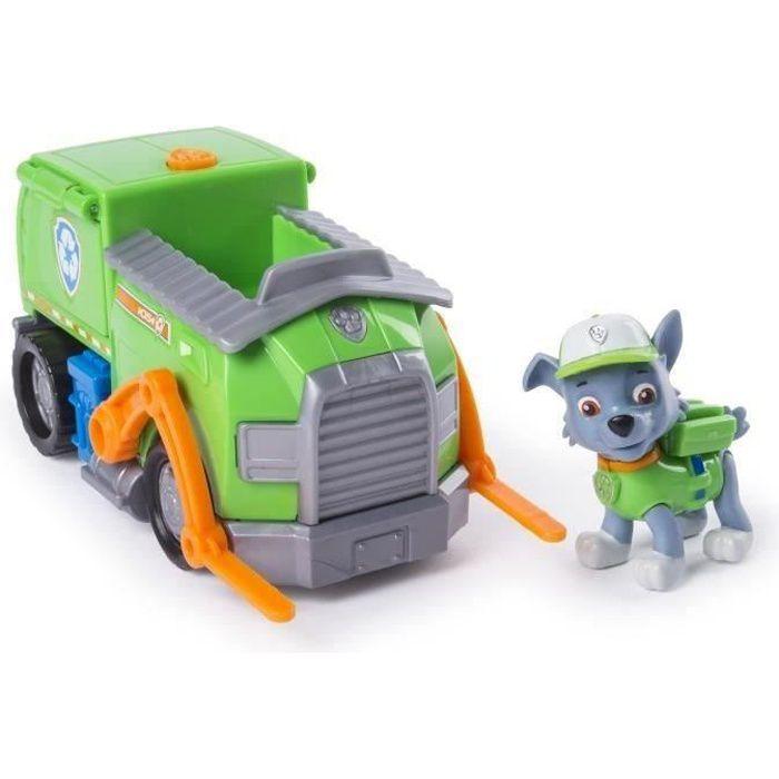 PAT PATROUILLE Figurine verte Rocky + Camion de Recyclage