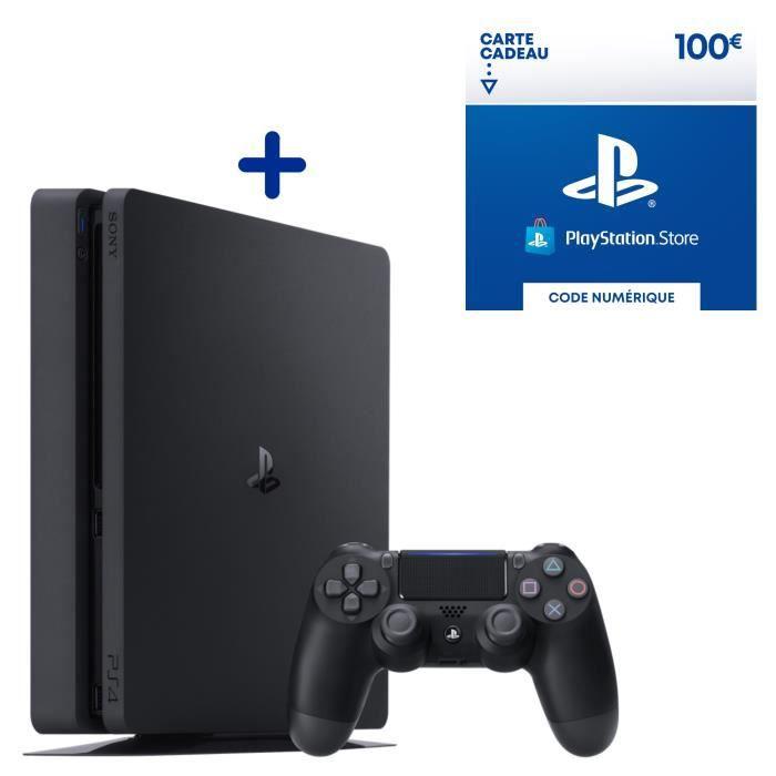Console PS4 Slim 500Go Jet Black + 100€ Fonds pour porte-monnaie virtuel à utiliser sur le PlayStation Store - Code de Téléchargement PS4 & PS5