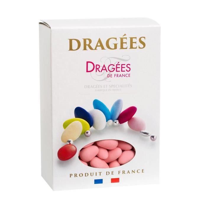 DRAGEES DE FRANCE Dragées Amande Marguerite 20% - Couleurs : rose - Boîte 1 kg