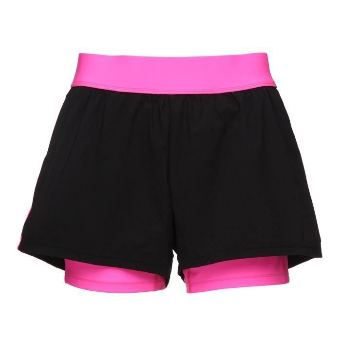 HAPPY & SO Short de sport - Femme - Rose fluo et noir