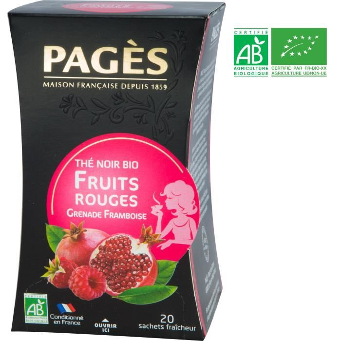 PAGES Thé Noir Fruits Rouges, Grenade, Framboise - Bio