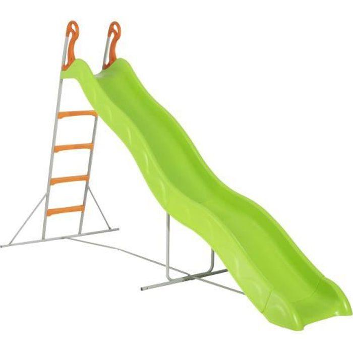 Toboggan PYROU de 3,32m de glisse , coloris vert avec 4 echelons anti-dérapant coloris orange, structure métal coloris gris.