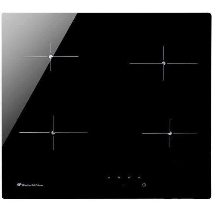 CONTINENTAL EDISON CECP104RP2 Plaque de cuisson vitrocéramique - 4 zones - 6000 W - L 59 x P 52 cm - Revêtement verre - Noir