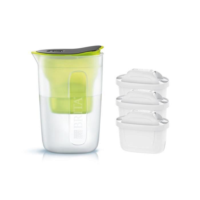 Pack BRITA Carafe filtrante FUN Vert + 3 Cartouches de rechange