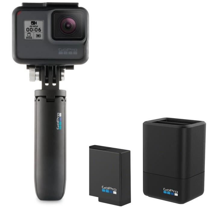 GOPRO Chargeur de batterie double et batterie + SHORTY Mini-perche extensible et trépied