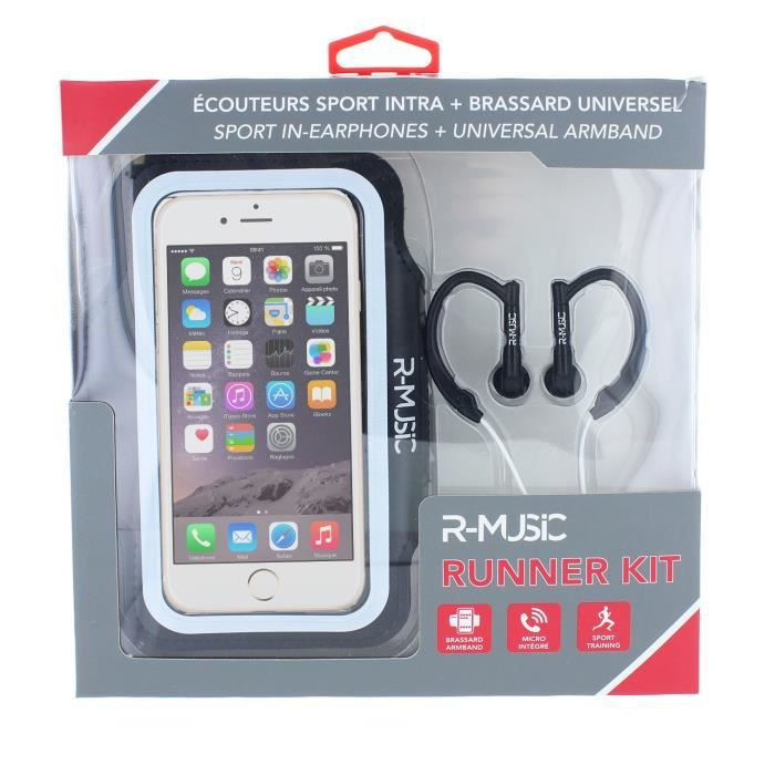 R-MUSIC Runner Kit - Ecouteurs intra auriculaires filaires + Brassard universel pour smartphone - Bl