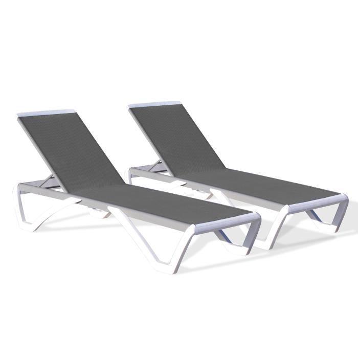 DCB GARDEN Lot de 2 chaises longues PVC et aluminium et textilène Riga - Gris, blanc et noir