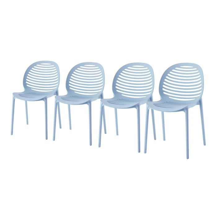 DCB GARDEN Lot de 4 chaises en PVC Olbia - Bleu azur