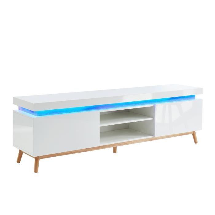 ALANIS Meuble TV à LED multicolore L 180 cm - Décor chêne et blanc