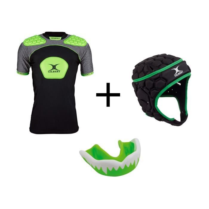 GILBERT Pack protection rugby enfant 10 - 12 ans - Casque rugby + épaulière et protège dent offert