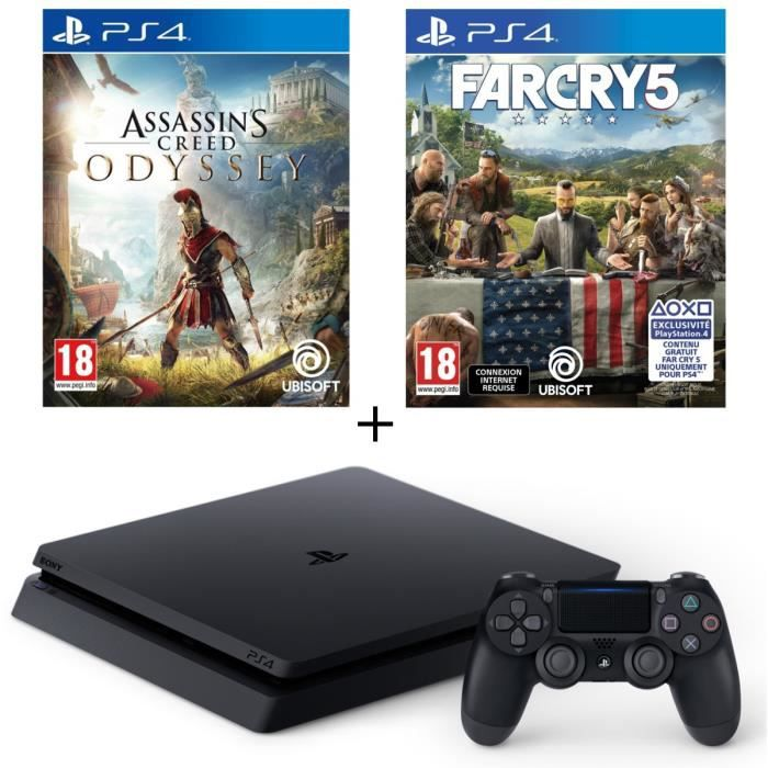 Pack PS4 500 Go Noire + Assassin's Creed Odyssey + Far Cry 5