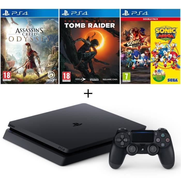 Pack PS4 500 Go Noire + 4 Jeux : Assassin's Creed Odyssey + Shadow of the Tomb Raider + Double Pack Sonic