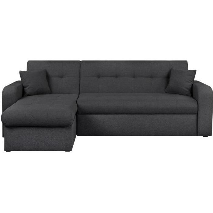 Canapé d'angle réversible convertible 3 places - Tissu gris anthracite - Contemporain - L 235 x P 85 - 153 cm - ROMAN