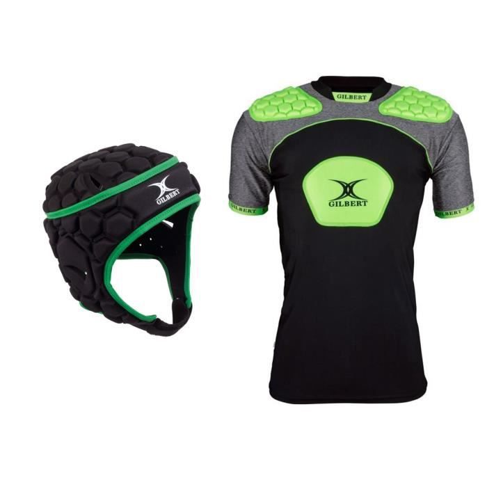 GILBERT Pack Protection Rugby Casque + Epaulière - Enfant - Taille 8 à 10 ans