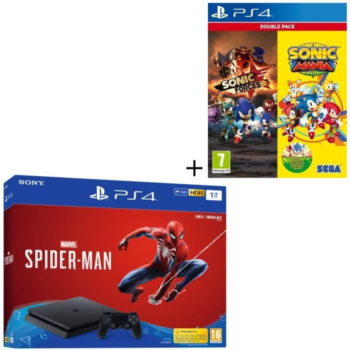 Pack PS4 1 To Noire + 3 Jeux : Marvel's Spider-Man + Double Pack Sonic