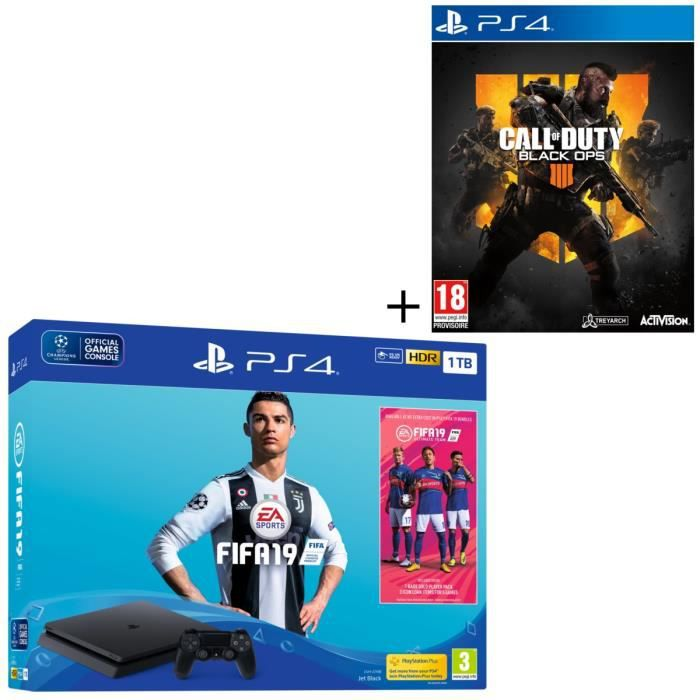 Pack PS4 1 To Noire + 2 Jeux : FIFA 19 + Call of Duty Black Ops 4