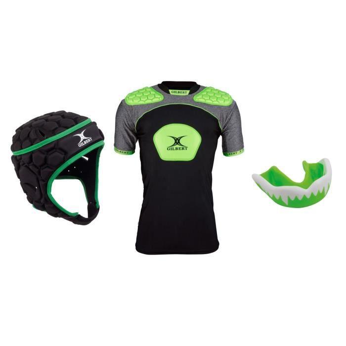 GILBERT Pack protection rugby adulte XL - Casque + épaulière et protège dent offert
