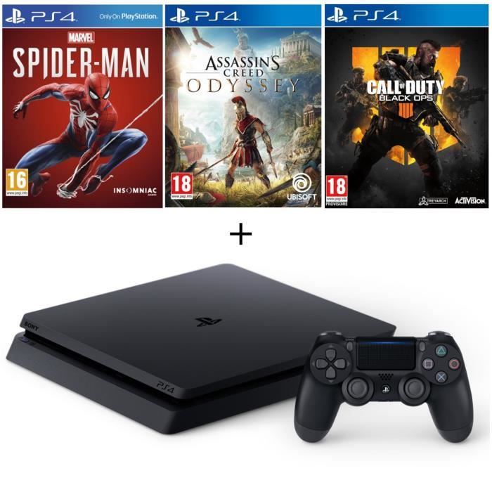 Pack PS4 500 Go Noire + 3 Jeux : Marvel's Spider-Man + Assassin's Creed Odyssey + Call of Duty Black Ops 4