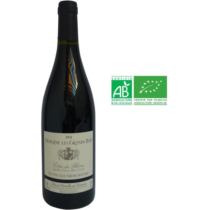 Domaine Les Grands Bois Cuvée Les 3 Sœurs 2017 Côtes-du-Rhône - Vin rouge de la Vallée du Rhône - Bio
