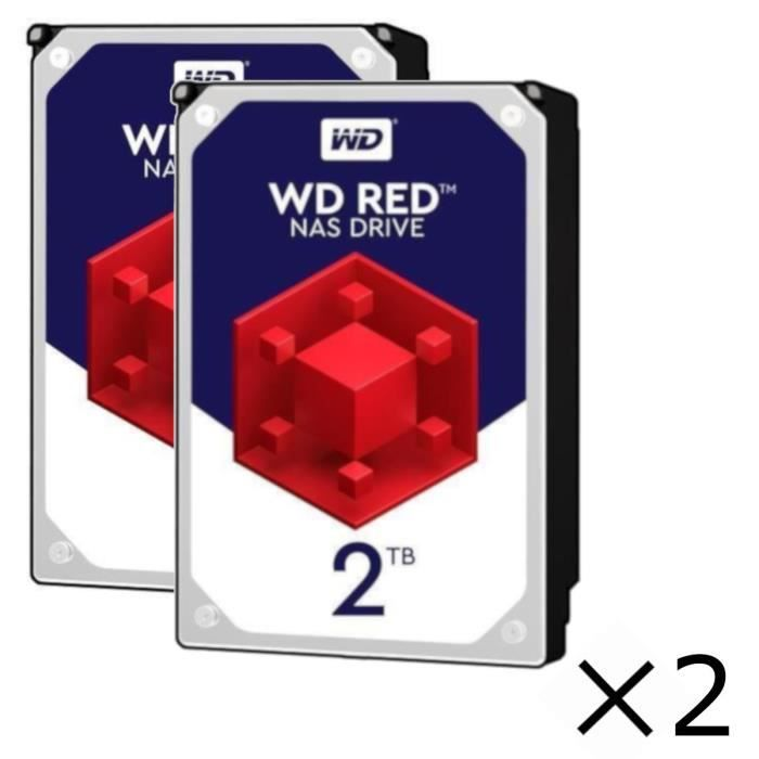 Pack x2 : Disques durs Internes NAS WD Red™ - 2To - 5 400 tr/min - 3.5\