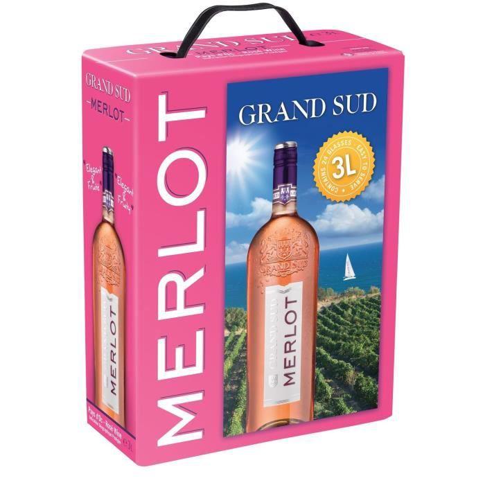 Grand Sud Merlot IGP Pays d'Oc - Vin rosé du Languedoc Roussillon - 3L