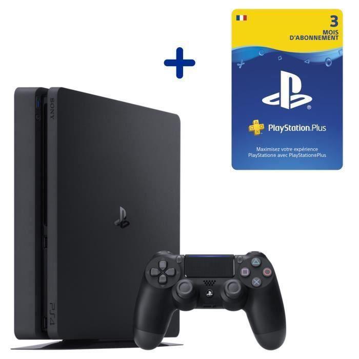 Console PS4 Slim 500Go Jet Black + Abonnement 3 Mois au PlayStation Plus - Code de Téléchargement PS4 & PS5