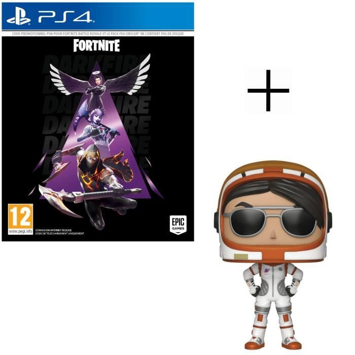 Pack Fortnite : Pack Feu Obscur Jeu PS4 + Figurine Funko Pop! Fortnite - Moonwalker