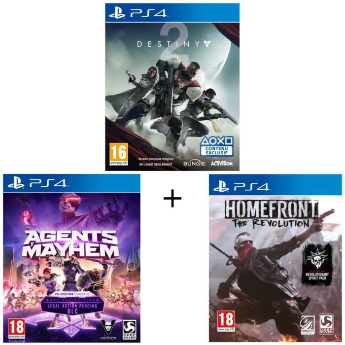 Pack 3 jeux PS4: Destiny 2 + Agents Of Mayhem Day One Edition + Homefront The Revolution
