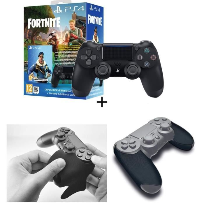 Manette PS4 DualShock 4 Fortnite (voucher) + Grips Steelplay noirs pour manette PS4