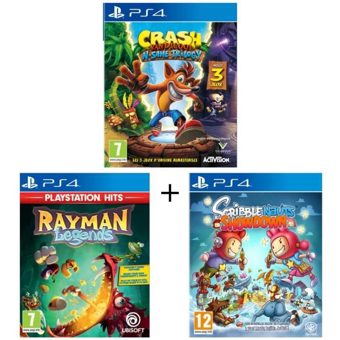 Pack 3 jeux Kids PS4 : Crash Bandicoot N. Sane Trilogy + Rayman Legends Playstation HITS + Scribblenauts Showdown