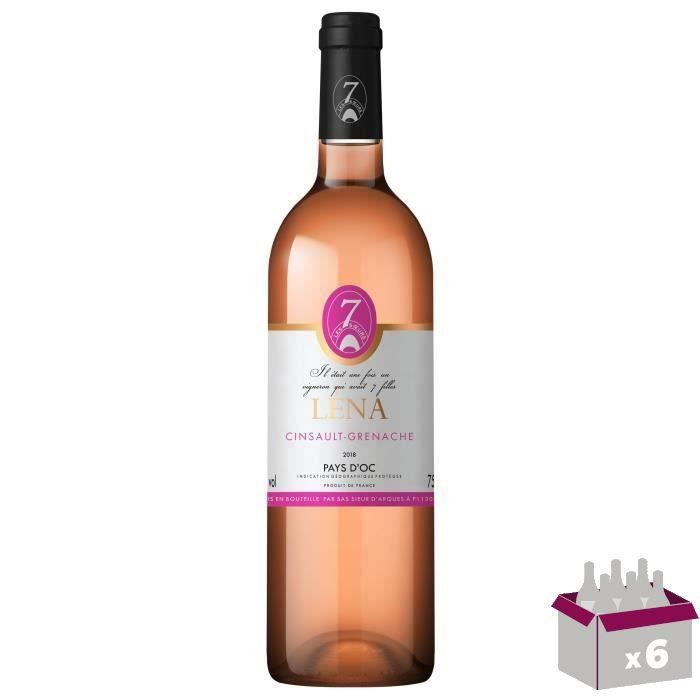 Les 7 Sœurs Léna Cinsault-Grenache 2018 Pays d'Oc - Vin rosé de Languedoc-Roussillon