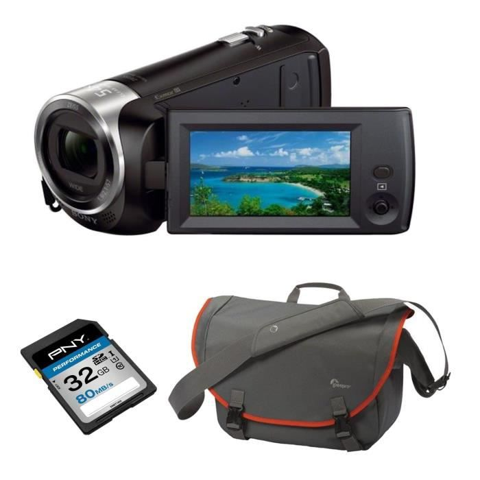 SONY HDRCX240EB Camescope Full HD 1080p + PNY Performance Carte Mémoire SDHC 32 Go 80MB/s + LOWEPRO PASSPORT MESSENGER Sac bandouliè