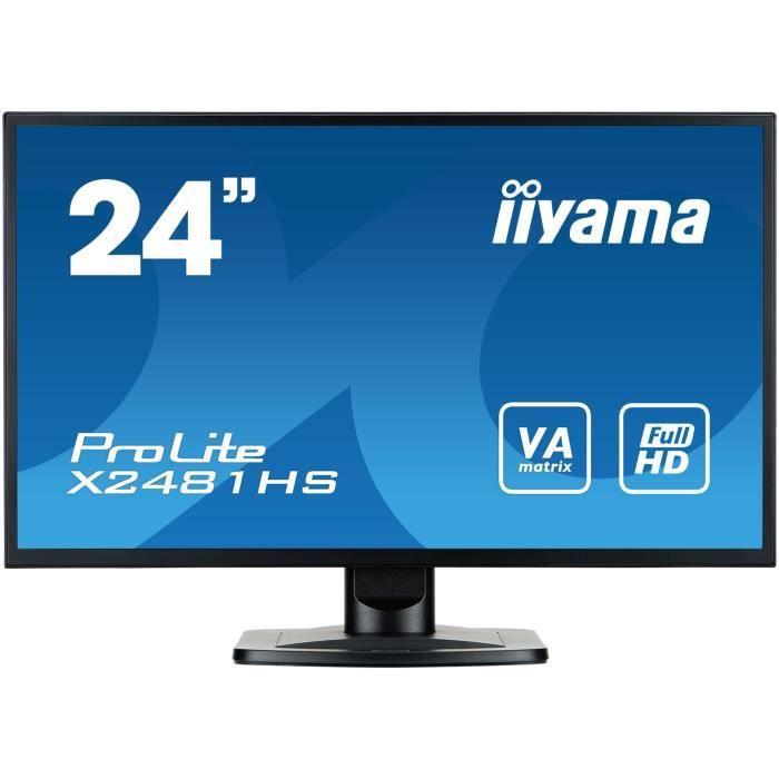 IIYAMA Ecran ProLite X2481HS-B1 - 24- - FULL HD - Dalle VA - VGA/DVI-D/HDMI