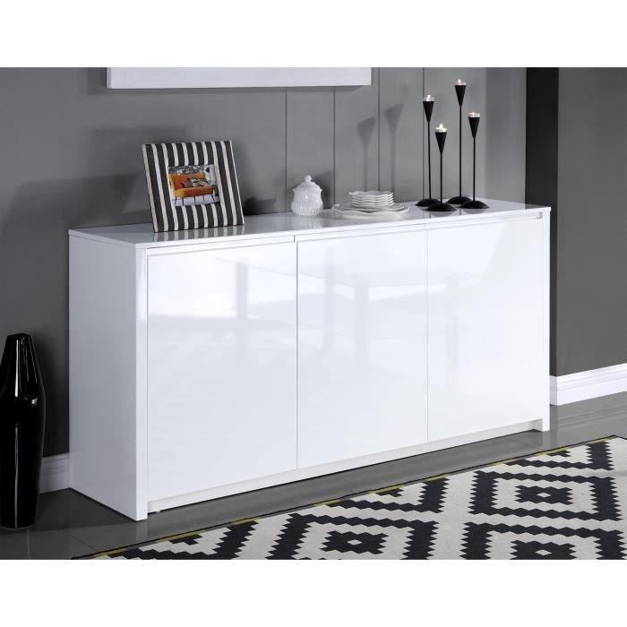 POLARIS Buffet contemporain laqué blanc brillant - L 160 cm