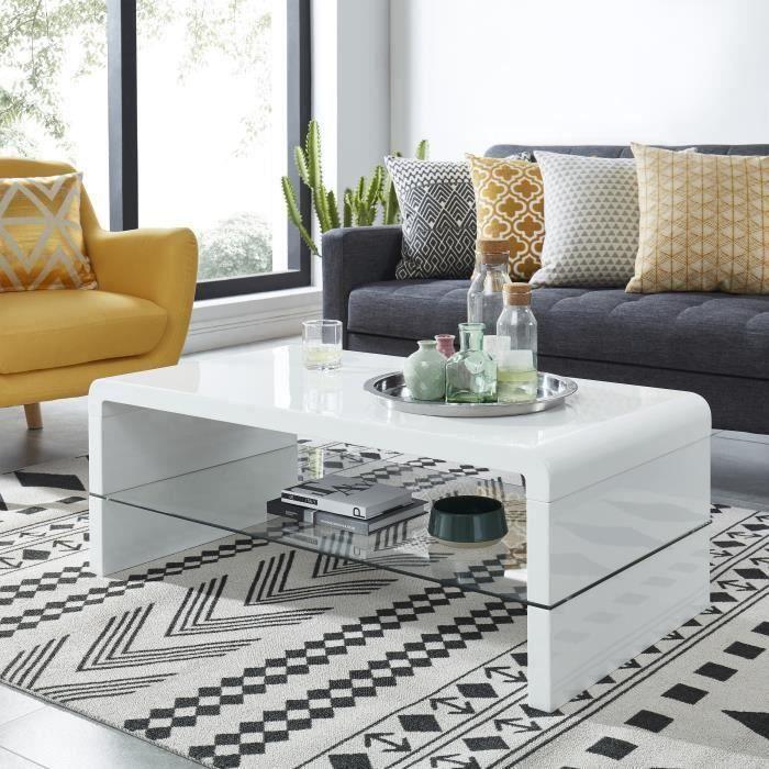 PRIMIS Table basse contemporain laqué blanc 105x55cm