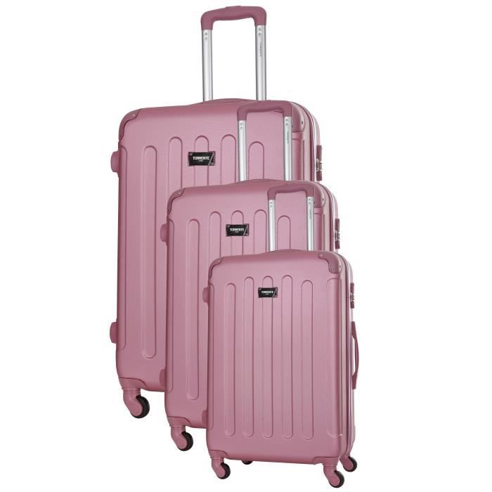 TORRENTE Ensemble 3 Valises Rigide ABS 4 Roues S-M-L HYPNOS Rose