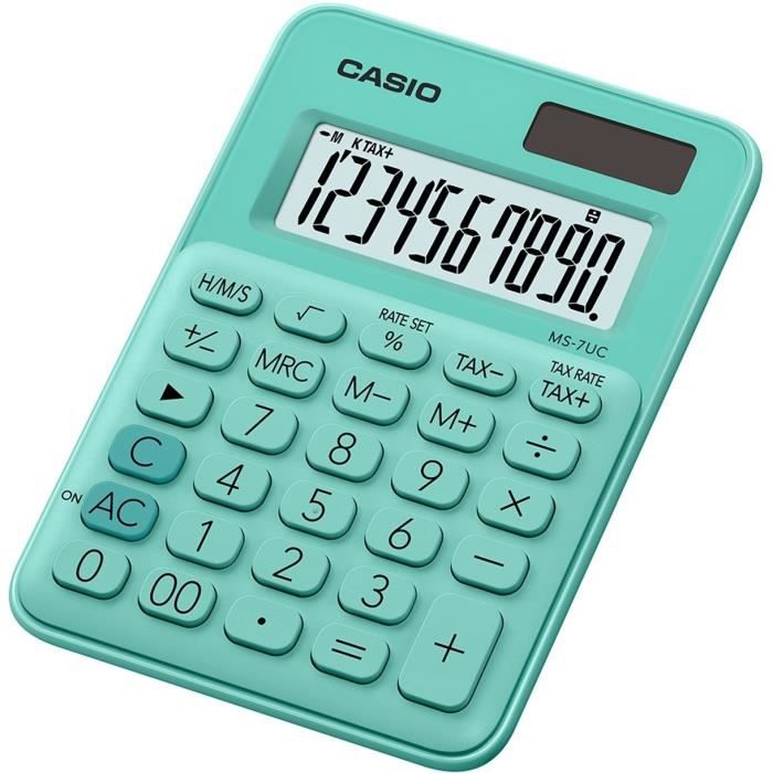 CASIO Calculatrice de bureau MS-7UC-GN-S-EC verte