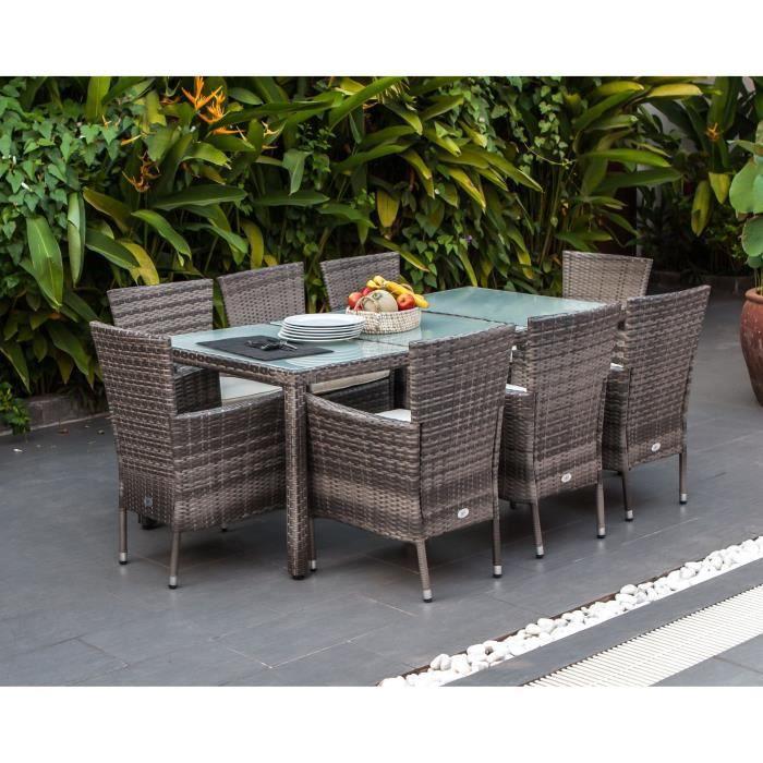 Ensemble repas de jardin 8 personnes- Table 190x90cm + 8 fauteuils - plateau verre trempé et structure résine tressée - Gris - FEROE
