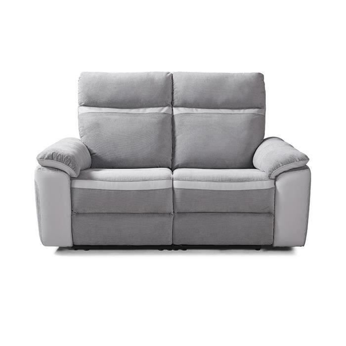Canapé 2 places relax électrique - Simili Blanc et Tissu Gris - L 156 x P 93 x H 99 cm - SANTOS