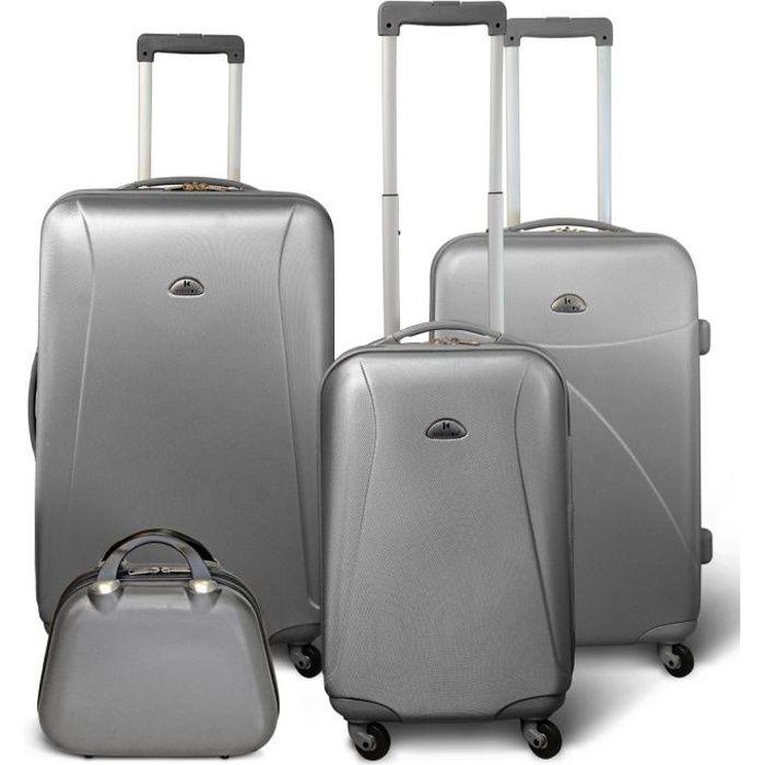 KINSTON Set 3 valises 4 roues + Vanity Gris clair