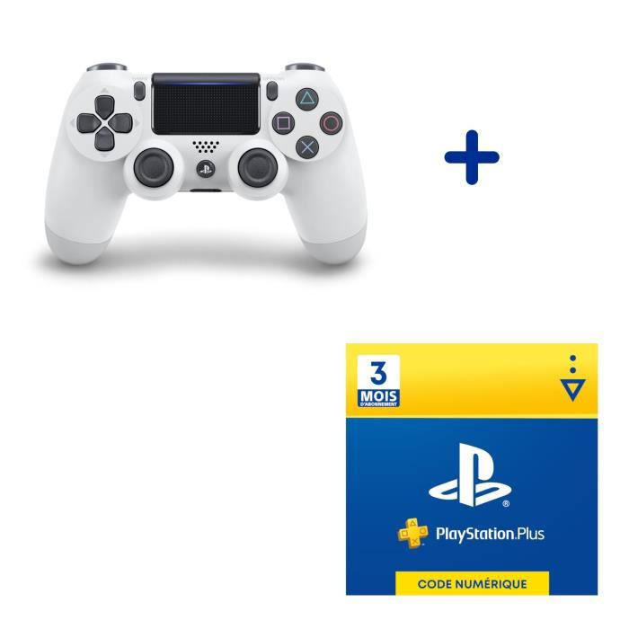 Pack PlayStation : Manette PS4 Dualshock 4.0 V2 Glacier White + Abonnement 3 Mois au PlayStation Plus - Code de Téléchargement PS4