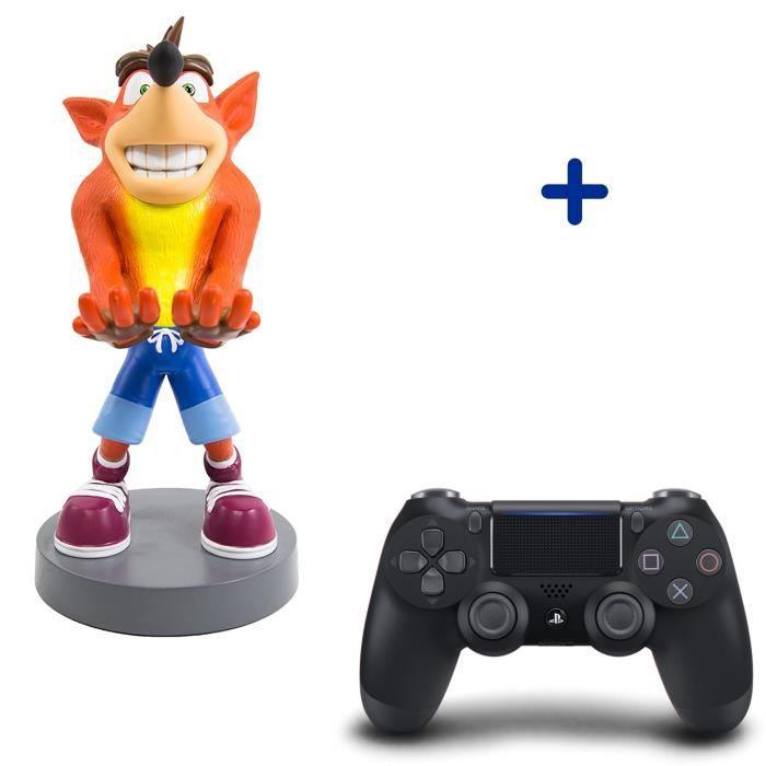 Pack PlayStation : Manette PS4 DualShock 4.0 V2 Jet Black + Figurine Crash Bandicoot - Support de Manette Exquisite Gaming