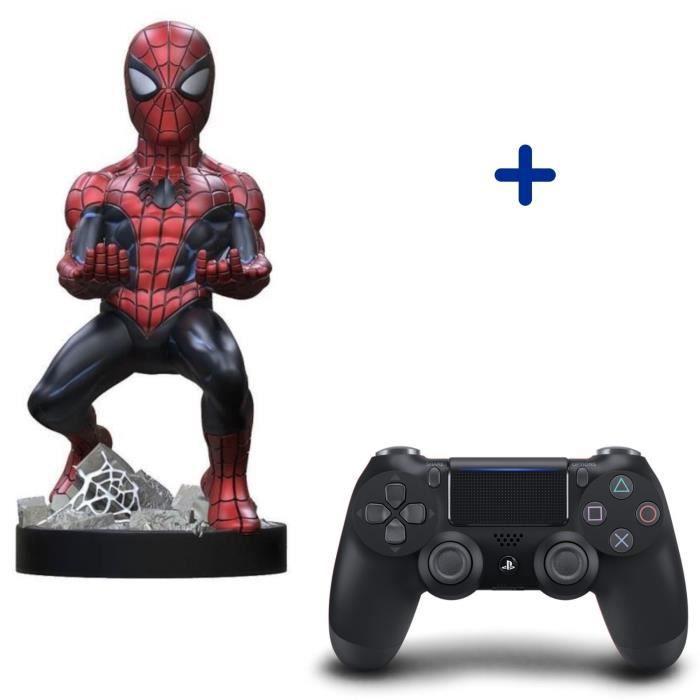 Pack PlayStation : Manette PS4 DualShock 4.0 V2 Jet Black + Figurine Spider-Man 2020 - Support de Manette Exquisite Gaming