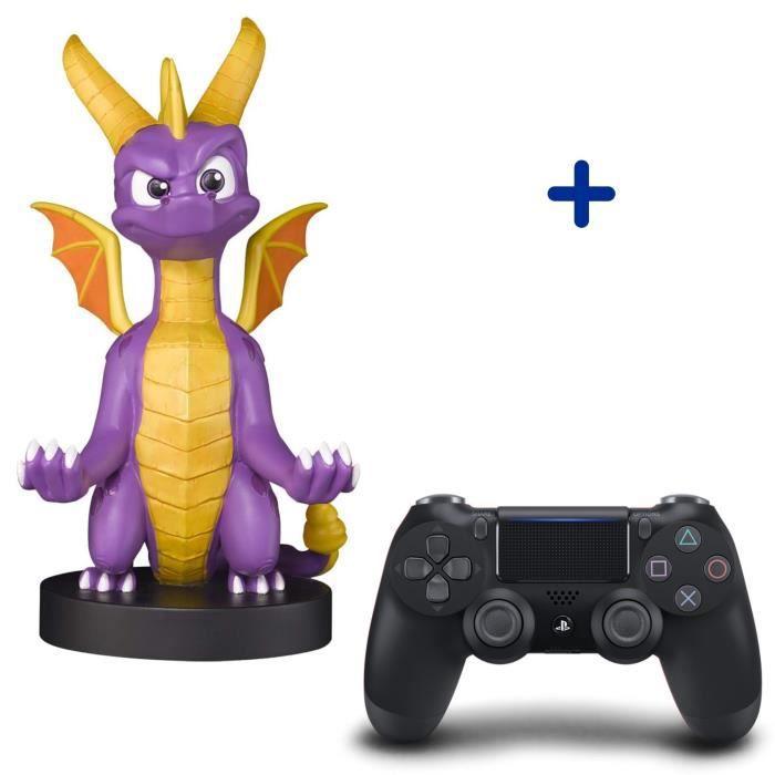 Pack PlayStation : Manette PS4 DualShock 4.0 V2 Jet Black + Figurine Spyro The Dragon XL - Support de Manette Exquisite Gaming