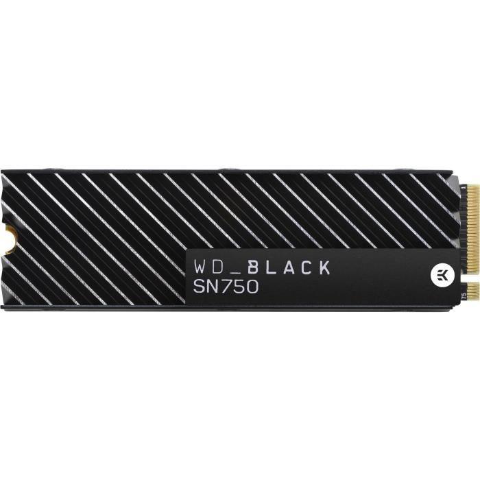 WD Black™- Disque SSD Interne - SN750 - 500Go - M.2 NVMe (WDS500G3XHC-00SJG0) avec dissipateur thermique