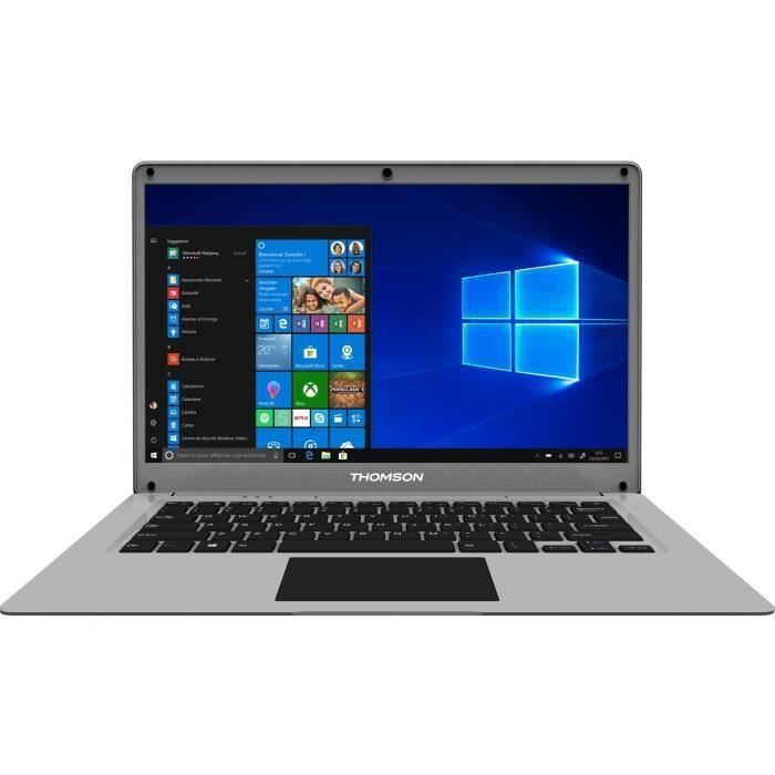 THOMSON PC Portable - 14'' HD - Celeron - RAM 4Go - Double Stockage 64Go+500Go HDD - Windows 10S - Silver