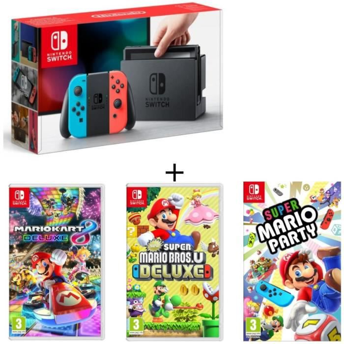 Pack nintendo switch néon new super mario bros u deluxe super mario party mario kart 8 deluxe